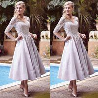 longueur de thé mère mariée robes lilas achat en gros de-Elégante Mère De Mariage De Lilas Des Robes De Mariée Demi Manches Longueur De Thé Sur Mesure De Cou V Robes De Mariée