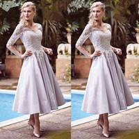 longitud del té madre novia vestidos lila al por mayor-Elegante madre lila de la boda de la novia viste media manga longitud del té vestidos de invitado de boda con cuello en V personalizados