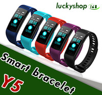 Wholesale color red activities - Y5 Smart Bracelet Wristband Fitness Tracker Color Screen Heart Rate Sleep Pedometer Sport Waterproof Activity Tracker for iPhone Samsung