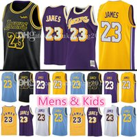 Wholesale cities xl - top quality 23 LeBron James Men's Youth Kids Jersey 2018 2 Ball 0 Kuzma 24 Kobe Bryant LeBron James Black Gold the city Los Angeles Jerseys