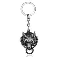 jeux de fantaisie finaux achat en gros de-Haute qualité Jeu Série Cool Final Fantasy Pendentif Porte-clés Final Fantasy VII Nuage Loup Tête Logo En Métal Exquis chaveiro