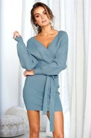 Wholesale hot club clothes for sale - Women Slim Sexy Deep V Neck Mini Dresses Bodycon Skinny Hot Club Long Sleeve Dresses Woman Backless Sheath Dress With Belt Design Clothes