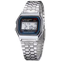 любовник электронные часы оптовых-Мода роскошные ретро Мужчины Женщины цифровые часы Спорт на открытом воздухе водонепроницаемый электронные светодиодные наручные часы любители движение смотреть