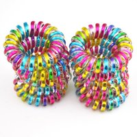 Wholesale Telephone Cord Hair Tie - 10Pcs Lot Colorful Telephone Wire Cord Line Gum Holder Elastic Hair Band Tie Scrunchy 3.5cm Hair Accessory