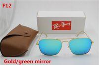 caja cuadrada de espejo al por mayor-1 unids Nueva alta calidad diseñador de moda raYang gafas de sol cuadradas marco de metal verde espejo lente UV400 protección caja marrón.