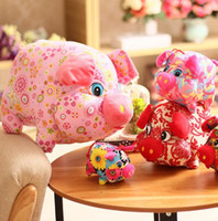 Wholesale toys companies resale online - 10cm Pig Year mascot doll cloth Zodiac pig plush toy small auspicious pig company gift creative fashion ornaments