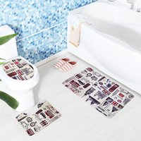 Wholesale pattern bath rugs - 2018 new Anti Slip Bath Mats anti slip Bathroom Rugs Underwater World pattern Toilet Mat Carpet Lid Toilet Cover Bathroom mats