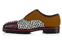 Wholesale anti slip spikes for sale - Group buy 2019 Men Patchwork Rivet Flats Slip on Anti skid men Spike Oxfords Vintage Camping Shoes Men Dress Shoes EU39 EU46