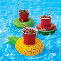 Wholesale inflatable car float online - Summer Pool Floats Mat Cup Holder Water Inflatable Toys Watermelon Lemon Pineapple Drink Coaster Children Bath Toy jt WW