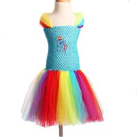 ingrosso vestito ragazza tutu fatta a mano-2018 Ispirato ragazze Tutu Dress Fluffy Handmade Cartoon Rainbow Dress Costume di Halloween Birthday Party