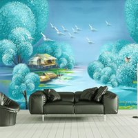 Wholesale Custom D Mural Wallpaper Dream Waterscape Landscape Oil Painting Living Room TV Background Non woven wallpaper Covered Mural