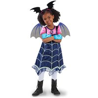 Wholesale stage clothes for children online - Vampirina Cartoon Half Sleeves Costumes Dress For Kids Children Party Celebration With Hair Band Halloween Stage XMAS Clothing MMA384