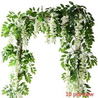 Wholesale Party Hanging Decorations - 2PC Artificial Flowers 6.6ft Silk Wisteria Ivy Vine Hanging Garland Wedding Party Supplies Christmas Home Garden Decoration Fake Flowers