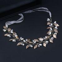 ювелирные изделия из шелка оптовых-Simple Handmade Gold Leaves Silk Ribbon Bridal Headbands Pearl  Wedding Headpiece For Women Bride Jewelry Hair Accessories