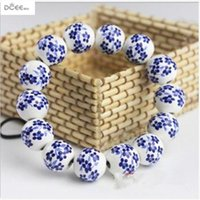 jingdezhen ornaments großhandel-Jingdezhen Keramik Schmuck Handgefertigte Ornamente Porzellanperlen Handkette Blaue und weiße Blume gebrochene Blume