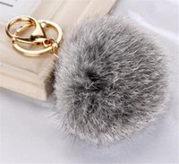 Wholesale ball chain earrings - Rabbit Fur Ball Keychain Soft Fur Ball Lovely Gold Metal Key Chains Ball Pom Poms Plush Keychain Car Keyring Bag Earrings Accessories