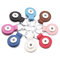 Wholesale diy car leather resale online - 8 colors PU Leather Snap button Keychains Round Square Snap keyrings Jewelry DIY MM Ginger Snap Buttons Key chain Car Keyring Accessories