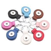 botões de pressão diy jóias venda por atacado-8 cores Botão de Pressão de Couro PU Chaveiros Rodada Praça Snap chaveiros Jóias DIY 18 MM Botões de Pressão Gengibre chaveiro Chaveiro Do Carro acessórios