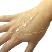 Wholesale slave bracelet jewelry online - pc Tassel Bracelet Bangle Finger Hand Harness Gold Slave Celebrity Multi Chain fine jewelry