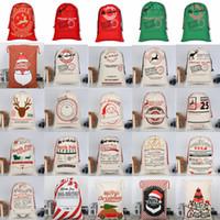 Wholesale indoors gift for sale - Santa Sacks Monogrammable Christmas Gift Bags Santa Sack Drawstring Bag Santa Claus Deer Designs Bulk in Stock YW244