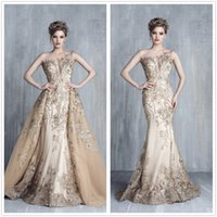 Wholesale Over Size Evening Dresses - Sheer Cap Sleeves Lace Mermaid Formal Evening Dresses Tulle Applique Beaded Prom Dresses Party Wear Gowns With Over Skirts