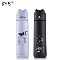 ingrosso bottiglia di alimentazione-Thermos Bottle 3D Cute Cat Vacuum Flask Bottiglie d'acqua in acciaio inox portatile regalo per bambini 500ml