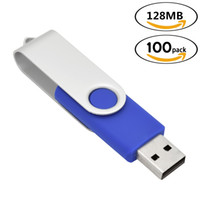 flash usb de 128 mo achat en gros de-Clés USB rotatives bleues tournantes 100 Lots 128Mo pivotant USB 2.0 lecteurs de stylet de pouce en métal Mémoire Bâtonnets de stockage pour ordinateur portable Tablet