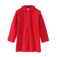 Wholesale teenagers girl dresses online - 4 to years kids teenager Girls autumn spring Ruffle cotton red dresses NEW baby children fall boutique clothing R1AH706DS