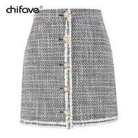 43c799e7a52 Femmes Casual Tweed Mini Jupe Taille Haute Boutons Avant Blanc Jupe En Laine  Automne Femme Plus La Taille Courte Jupes De Bureau Chifave