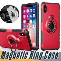 iphone 5s galaxie hülle großhandel-Magnetring-Kasten Rüstung Hybrid Dual Layer mit Ständern auf Auto-Halter für iPhone 11 pro max Xs Xr 8 7 6 6S Plus 5 5S SE Galaxy S8 S8 + J7