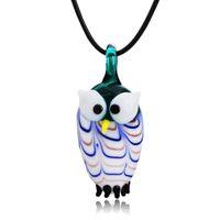 accesorios del buho de las muchachas al por mayor-Accesorios de joyería para Lady Girl Owl Shape Collar Pendent Cristal de Murano Pendents Glitter Cool Necklace con cadena Accesorios de moda