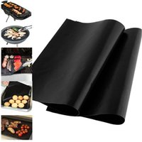 Wholesale silicone sheet wholesale - BBQ Teflon Grill Mat Outdoor Non-Stick Baking grilling Mat Sheet High Temperature Bar Kitchen Bakeware Tool Retail Color Box Pack HH7-914