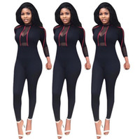 Wholesale plus size rompers for sale - 18ss Transparent Bodysuit Plus Size See Through Rompers Women Jumpsuit Long Sleeve Skinny Overalls Mesh Bodysuit Lace Summer Playsuit