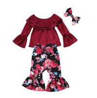 Wholesale baby girl costumes boutique for sale - Group buy New Baby Girl Off Shoulder Velvet Top Flower Bowknot Bellbottoms topknot set Oufit Kids Girls Clothing Toddler Fashion Boutique Costume