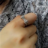 Wholesale bow ring wedding band - Ladies S925 Sterling Silver AAA Cubic Zirconia Hollow Bow Shape Band Rings Trendy Accessories