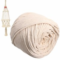 витые шнуры оптовых-5mmx90m Beige Natural Cotton Twisted Cord Rope Bohemian Craft Macrame Artisan String For Handmade DIY Sewing Craft