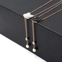Wholesale white gold swan pendant for sale - Group buy Titanium plated rose gold crystal black and White Swan Pendant Necklace for lady s Pearl fringed Necklace Jewelry