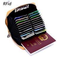 ingrosso organizzatore di viaggi d'affari-Portafoglio di carta di credito RFID di cuoio genuino dell'organizzatore di affari genuino della pelle bovina della borsa della carta di viaggio degli uomini della pelle bovina Portafoglio piccolo