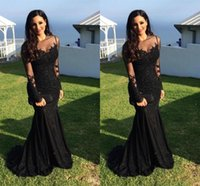 Wholesale Nude Mermaid Celebrity Dress - Balck Elegant Evening Dresses 2018 Cheap Sheer Neck Long Sleeves Zipper Back Beads Formal Celebrity Party Gowns Evening Dresses Custom