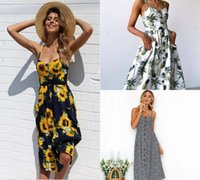 Wholesale sexy holiday clothes - 2018 Beach Dresses Spaghetti Print Design Sexy Bridesmaid Dress Party Wear Women Holiday Dress S XL Size Women Clothes Five Colors