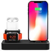 iphone watch dock toptan satış-Apple Watch / iPhone ve AirPods için 3 in 1 Silikon Şarj Standı, Apple iWatch Serisi 4/3/2/1 için Şarj Standı Dock İstasyonu / AirPods / iPhone