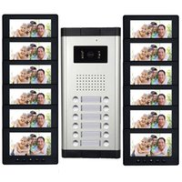 Wholesale wiring intercom system - 12 Units quot Monitor Apartment intercom system Video Door Phone Intercom HD Camera video Doorbell for Household