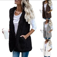 Wholesale Sleeveless Hoodie Women - Women Hooded Vest Winter Warm Jacket Hoodie Outwear Faux Fur Zip Up Sherpa Casual Coat OOA4231