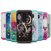 сова для нот оптовых-Bling гибридный блеск ТПУ + PC чехол для Samsung Galaxy S9 Plus Примечание 9 S8 J3 J7 премьер 2017 2018 Сова бабочка цветок