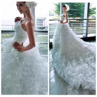 cauda de vestido de noiva venda por atacado-2018 Vintage Strapless Beading Princesa Modelos De Moda Da Noiva Grande Fino Cauda Longa Cauda Vestido De Noiva Vestido De Noiva Fotos Reais