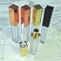 ingrosso rossetto di alta qualità-4ML 40pcs / lot Tubo vuoto di plastica Lip Gloss, quadrato elegante rossetto liquido bottiglia riutilizzabile, oro High-end Lip Gloss Container