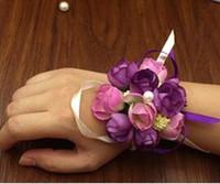 boutonnière poignet corsage achat en gros de-10pcs / lot mariage décoratif poignet main fleurs demoiselles d'honneur mariée poignet Corsages marié Corsages Boutonnière accessoires de mariage