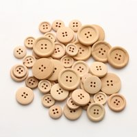 Wholesale wooden buttons wholesale - Hot 50 Pcs Set Mixed Wooden Buttons Natural Color Round 4-Holes Sewing Scrapbooking DIY Buttons Sewing Accessories