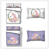 Wholesale Queen Floral Quilt - 3D Unicorn Duvet Doona Quilt Cover Set Single Full King Queen Size Floral Bed Cover Set