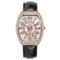 marcas de relojes de señora vintage al por mayor-Vintage Ladies Watch Reloj de cuarzo de oro rosa, vestido de mujer, lleno de diamantes, impermeable, para mujer, marca, reloj de lujo, esfera grande